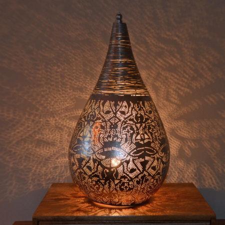 Oosterse tafellamp | Filigrain | Zilver | Draad | Marokkaanse lamp