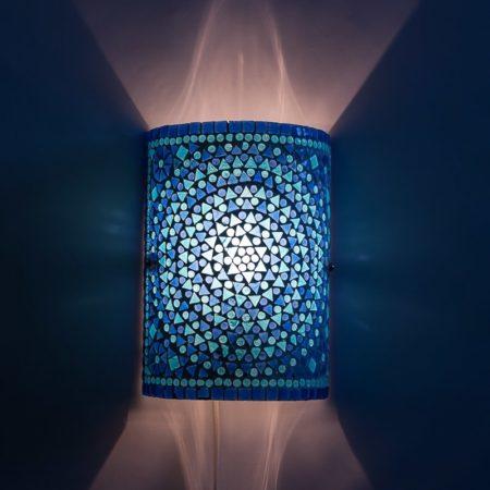 Blauwe|Oosterse|Wandlamp|Mozaiek|Cilinder