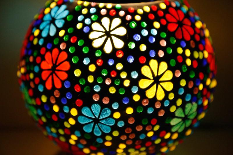 Tafellampen|Oosterse|Flower|Mozaiek