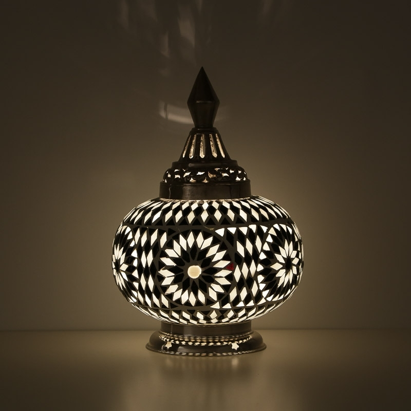 Pompoen|Tafellamp|Oosters|Mozaïek|Zwart|WIt