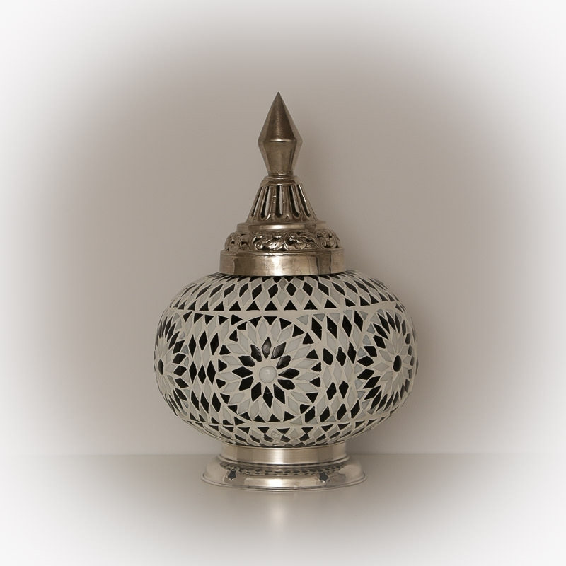 Zwart|Wit|Mozaïek|Tafellamp