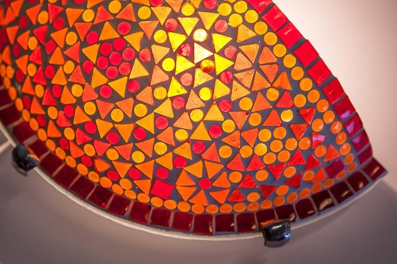 Oosterse|Wandlamp|Mozaiek|Rood|Oranje