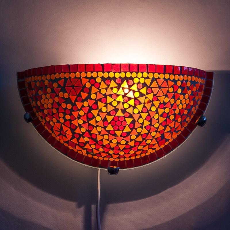 Rood|Oranje|Wandlamp|Mozaiek|Oosterse|Lamp