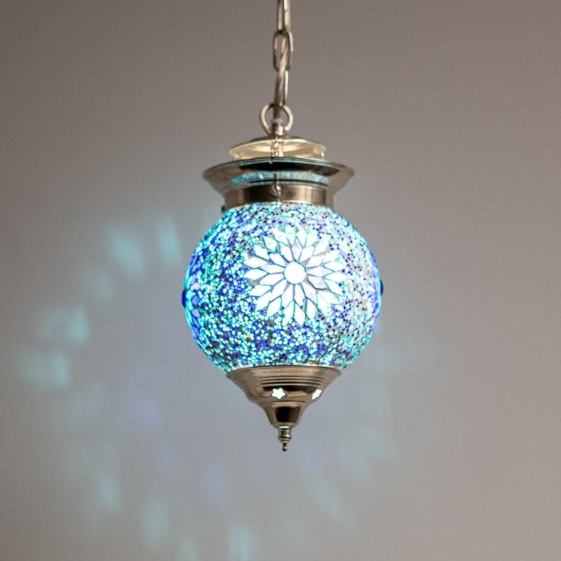 mozaiek|hanglampen|Beads|blauw