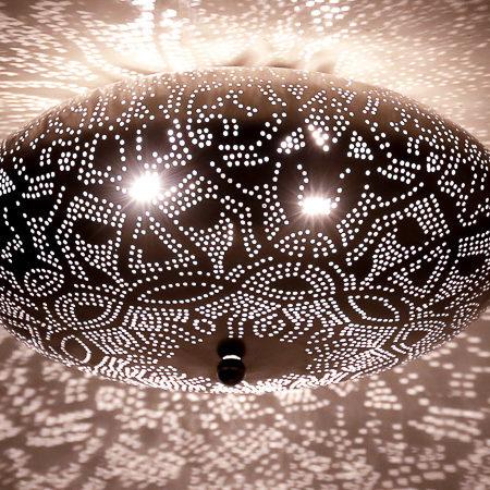 Zilveren plafondlamp   Oosterse plafonnière   Marokkaanse lamp   Arabische lampen   Metaal   Gaatjes   Filigrain
