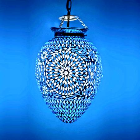 Oosterse|mozaiek|lamp|blauw|modern|interieur|