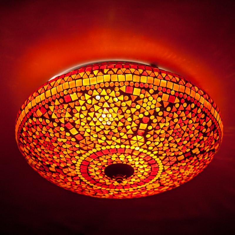 Rood/oranje|mozaïek|plafonnière|Indian|design