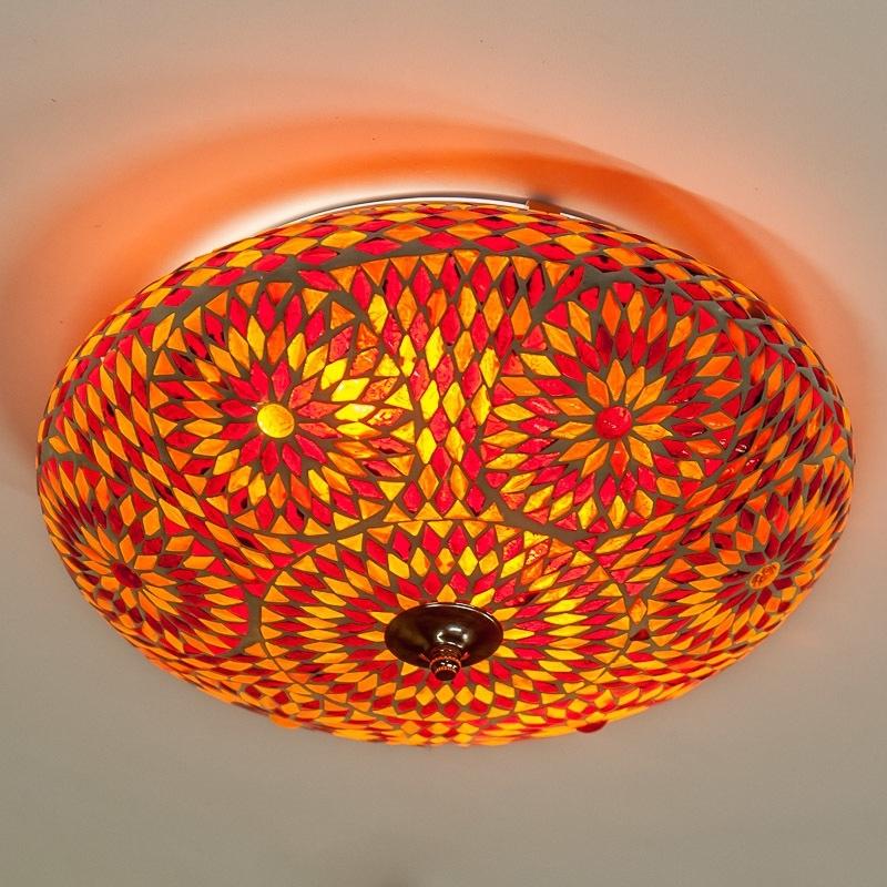 Oosterse|mozaïek|plafonnière|turkish|design|rood|oranje
