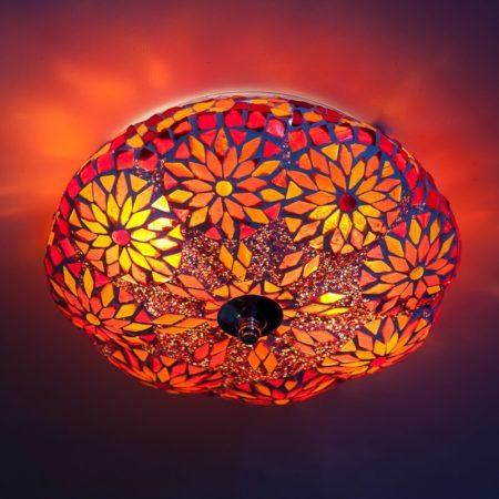 Mozaïek|Plafonnière|Rood|Oranje|Oosterse|lampen