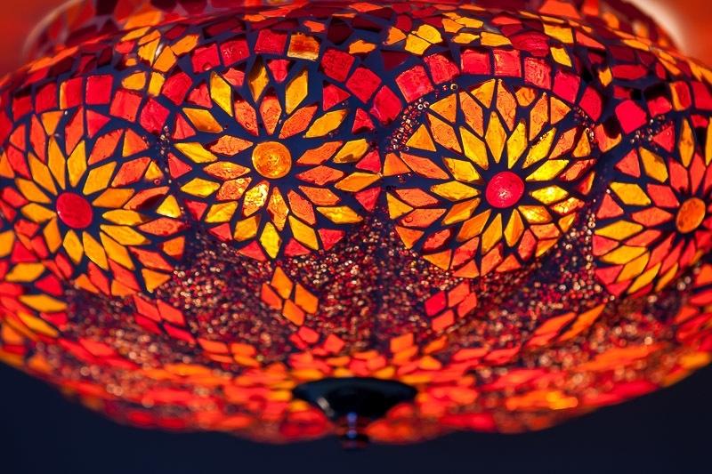 Oosters|mozaïek|plafonnière|meloen|rood|oranje