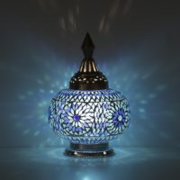 Blauwe|tafellamp|mozaiek|Oosterse|stijl