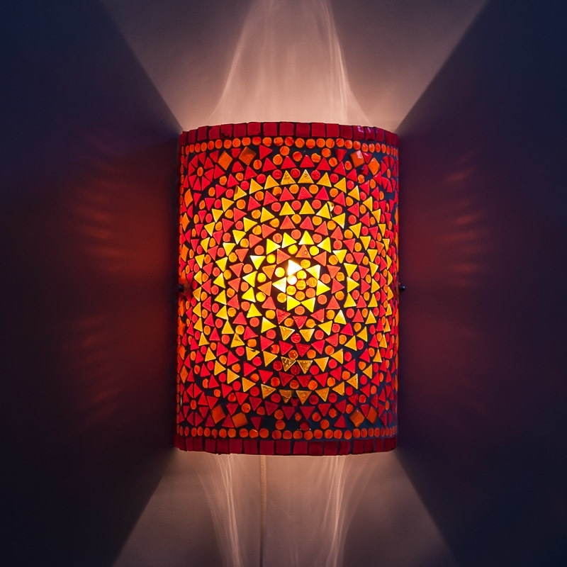 Rood|Oranje|Wandlamp|Mozaiek|Turkish|Design
