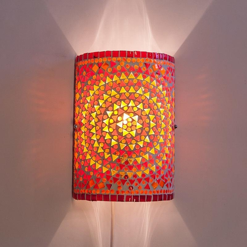 Oosterse|Wandlamp|Mozaiek|Rood|Oranje|